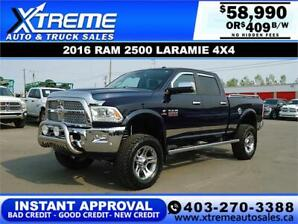 2016 RAM 2500 LARAMIE LIFTED *$0 DOWN* INSTANT APPROVAL $409/BW!