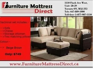 CALGARY▓SALE▓*Sectional Sofa with Chaise & Storage ottoman▓SALE
