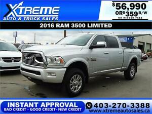 2016 RAM 3500 LIMITED CREW *INSTANT APPROVAL* $0 DOWN $359/BW
