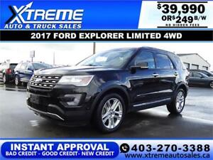2017 FORD EXPLORER LIMITED 4WD $249 B/W! APPLY NOW DRIVE NOW