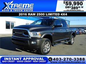 2016 RAM 2500 LIMITED CREW CAB 4x4 *INSTANT APPROVAL* $389/BW