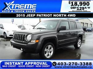 2015 JEEP PATRIOT NORTH 4WD $129 BI-WEEKLY APPLY NOW DRIVE NOW