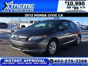 2012 HONDA CIVIC LX  *$0 DOWN* $99 B/W APPLY NOW DRIVE NOW