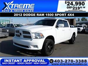 2012 DODGE RAM 1500 SPORT *INSTANT APPROVAL* $0 DOWN $219/BW!