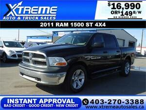 2011 DODGE RAM 1500 ST CREW CAB *INSTANT APPROVAL* $149/BW!