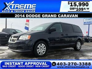 2014 Dodge Grand Caravan SXT $109 bi-weekly APPLY NOW DRIVE NOW