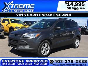 2015 FORD ESCAPE SE 4WD $0 DOWN $99 B/W APPLY NOW DRIVE NOW