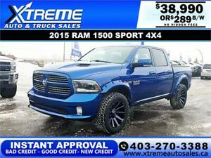 2015 RAM 1500 SPORT CREW CAB  *INSTANT APPROVAL* $289/BW!
