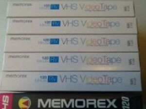 """6 NEW MEMOREX VHS VCR VIDEO TAPES."""