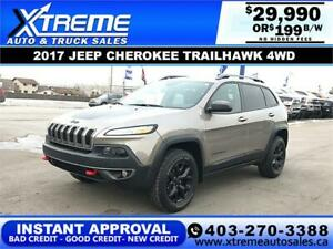 2017 JEEP CHEROKEE TRAILHAWK 4WD $199 B/W *$0 DOWN* APPLY NOW