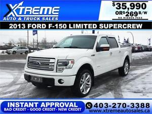 2013 FORD F-150 LIMITED *INSTANT APPROVAL $0 DOWN $269/BW!