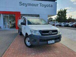 2009 Toyota Hilux TGN16R 09 Upgrade Workmate Glacier White 5 Speed Manual Cab Chassis Seymour Mitchell Area Preview