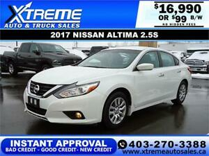 2017 NISSAN ALTIMA 2.5 S $99 B/W APPLY NOW DRIVE NOW
