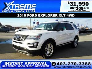 2016 FORD EXPLORER XLT 4WD $209 B/W! APPLY NOW DRIVE NOW
