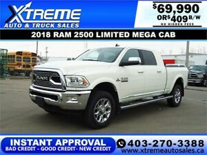 2018 RAM 2500 LIMITED MEGA CAB *INSTANT APPROVAL* $409/BW