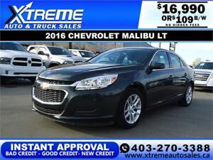 2016 CHEVROLET MALIBU LIMITED LT $109 B/W *$0 DOWN* APPLY NOW