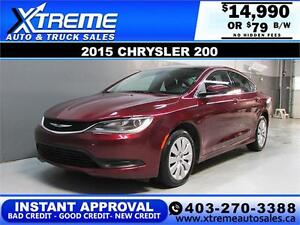 2015 Chrysler 200 $0 DOWN $79 bi-weekly APPLY NOW DRIVE NOW