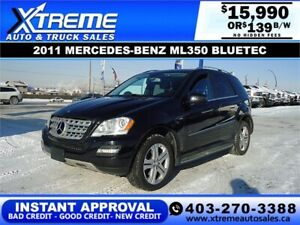 2011 Mercedes-Benz ML 350 BlueTEC $139 B/W $0 DOWN *APPLY NOW*