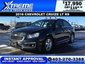 2016 CHEVROLET CRUZE 2LT RS $0 DOWN $119 B/W APPLY NOW DRIVE NOW