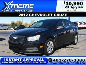 2012 CHEVROLET CRUZE LS $99 B/W *$0 DOWN* APPLY NOW DRIVE NOW