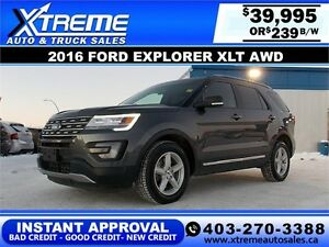 2016 Ford Explorer XLT 4WD $239 BI-WEEKLY APPLY NOW DRIVE NOW