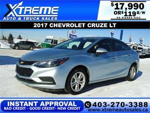 2017 CHEVROLET CRUZE LT *$0 DOWN* $119 B/W APPLY NOW DRIVE NOW