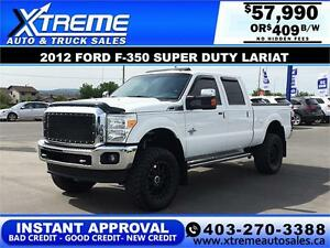 2012 FORD F-350 LARIAT LIFTED *INSTANT APPROVAL* $0 DOWN $409/B