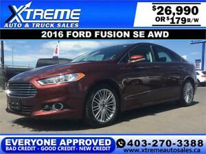 2016 Ford Fusion SE AWD $179 bi-weekly APPLY NOW DRIVE NOW