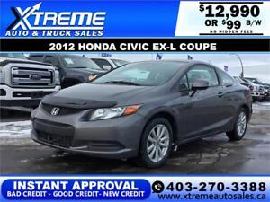 2012 HONDA CIVIC EX-L COUPE $99 Bi-Weekly APPLY NOW DRIVE NOW