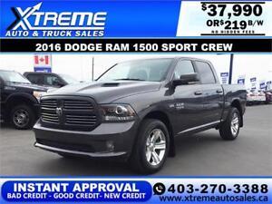 2016 Dodge Ram 1500 Sport Crew INSTANT APPROVAL $0 DOWN $219/BW
