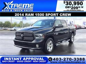 2014 RAM 1500 SORT CREW  *INSTANT APPROVAL* $0 DOWN $209/BW!