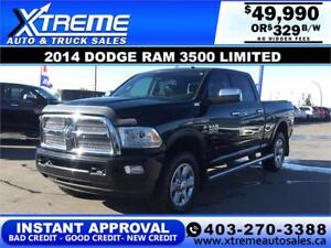 2014 DODGE RAM 3500 LIMITED CREW *INSTANT APPROVAL* $329/BW