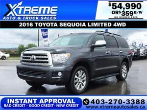 2016 TOYOTA SEQUOIA LIMITED 4WD $359 B/W APPLY TODAY DRIVE TODAY