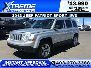 2012 Jeep Patriot Sport 4WD $109 bi-weekly APPLY NOW DRIVE NOW