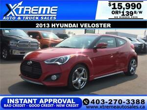 2013 HYUNDAI VELOSTER TURBO $139 bi-weekly APPLY NOW DRIVE NOW
