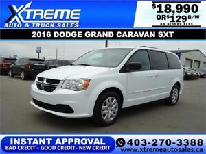 2016 DODGE GRAND CARAVAN SXT $189 B/W *$0 DOWN* APPLY NOW