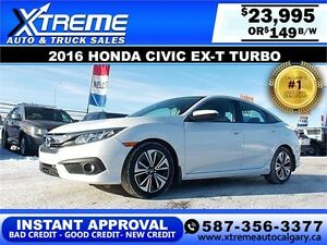 2016 Honda Civic EX-T Turbo $149 bi-weekly APPLY NOW DRIVE NOW