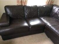 L shaped leather sofa - dark brown, good condition, good looking and very comfortable
