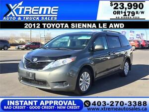 2012 TOYOTA SIENNA LE AWD $179 Bi-Weekly APPLY NOW DRIVE NOW