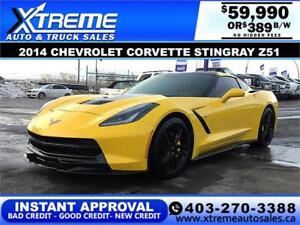 2014 CHEVROLET CORVETTE STINGRAY Z51 $389 BW APPLY NOW DRIVE NOW