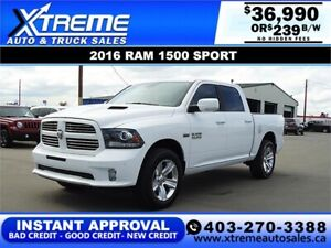 2016 RAM 1500 SPORT CREW CAB *INSTANT APPROVAL* $239/BW!