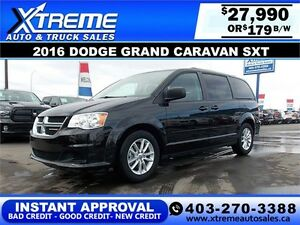 2016 Dodge Grand Caravan SXT $179 bi-weekly APPLY NOW DRIVE NOW