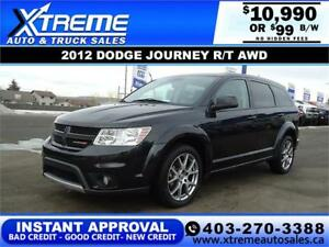 2012 DODGE JOURNEY R/T AWD *$0 DOWN* $99 B/W APPLY NOW