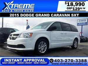 2015 Dodge Grand Caravan SXT $129 bi-weekly APPLY NOW DRIVE NOW