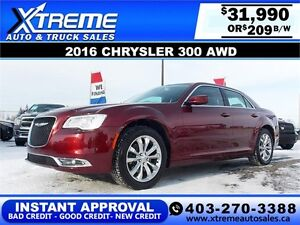 2016 Chrysler 300 AWD $209 bi-weekly APPLY NOW DRIVE NOW