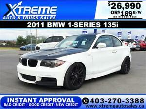 2011 BMW 1-SERIES 135i PURE STAGE 2 189 B/W! APPLY NOW DRIVE NOW