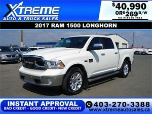 2017 RAM 1500 LONGHORN CREW *INSTANT APPROVAL* $0 DOWN $269/BW