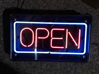 "Neon open sign used good condition 20"" wide X 12"" tall $50"