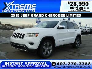 2015 JEEP GRAND CHEROKEE LIMITED $189 B/W *$INSTANT APPROVAL