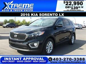 2016 KIA SORENTO LX GDI $0 DOWN $139 B/W APPLY TODAY